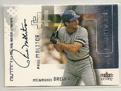 Paul Molitor 2002 Fleer Genuine Ink on-card Autograph Auto /365 - BREWERS