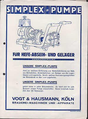 Hart Arbeitend KÖln Werbung 1930 Für Hefe-abseih- U Vogt & Hausmann Durchblutung GläTten Und Schmerzen Stoppen Geläger-simplex-pumpe