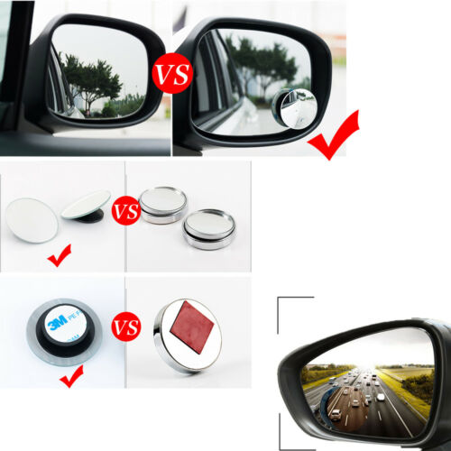 Blind Spot Car Mirror Set Adjustable Rear Side View Convex Glass 360 Wide Angle
