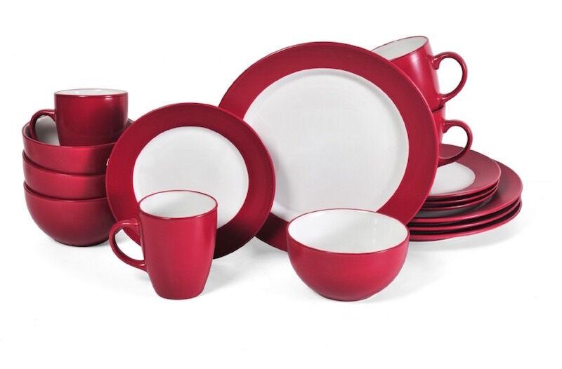 Rouge 16 Pièce Dinnerware Set de salle à manger plats dessert 4 lieu réglage bol assiette plat