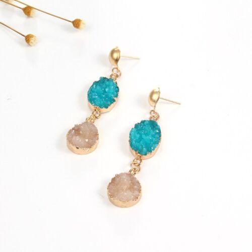 Étoile de mer perle pierre naturelle Cristal Strass Goutte Dangle Boucles d/'oreilles clous