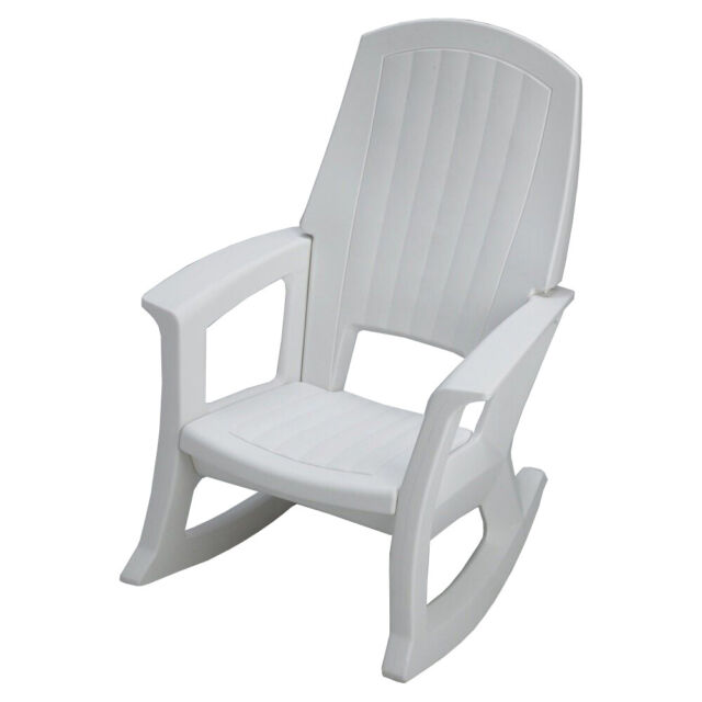 White Plastic Seat Outdoor Rocking Chair Semw
