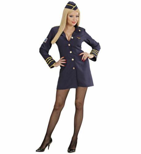 Ladies Blue Flight Attendant Air Hostess Stewardess Fancy Dress 10-14