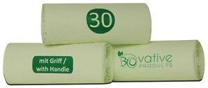 100-Kompostierbare-Bio-Muellbeutel-30L-mit-Henkel-39-Beutel-mit-Tragegriff