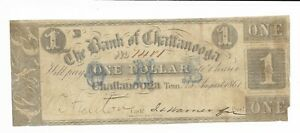 1861-1-Tennessee-Bank-of-Chattanooga-Extremely-Bluish-Green-ONE-Overprint