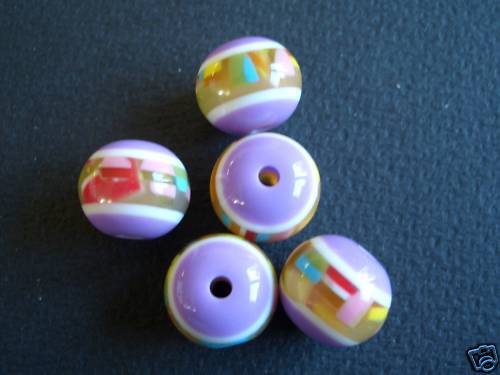 5 Polyester Perlen rund 11,5mm lila / bunt trendy 6043