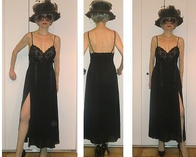 VTG CERIE LACE BOW SHEER BLACK NIGHTGOWN LINGERIE CLUBWEAR GOWN S