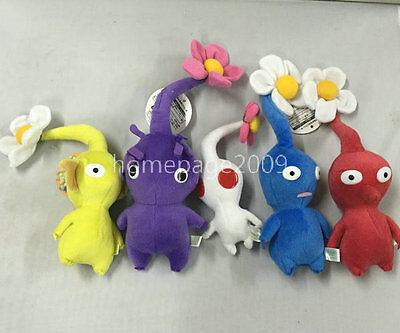 "NEW set of 5 Game Plush Pikmin Plush Flowers 6""-9"" Stuffed plush"