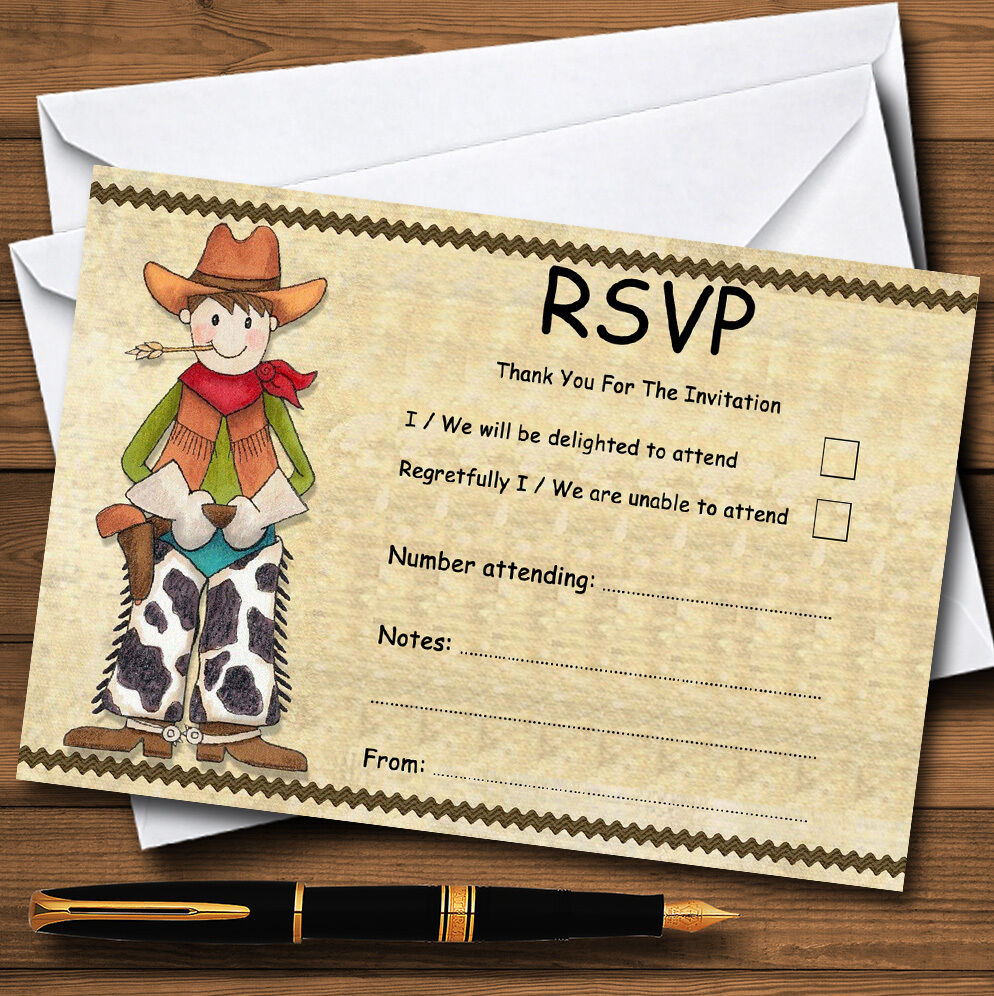Cowboys And Cowgirls Personalised Wedding or Party RSVP Cards