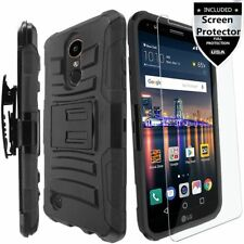 LG Fortune Phoenix 3 K8 Case Protective Hard Cover Armor With Screen Protector
