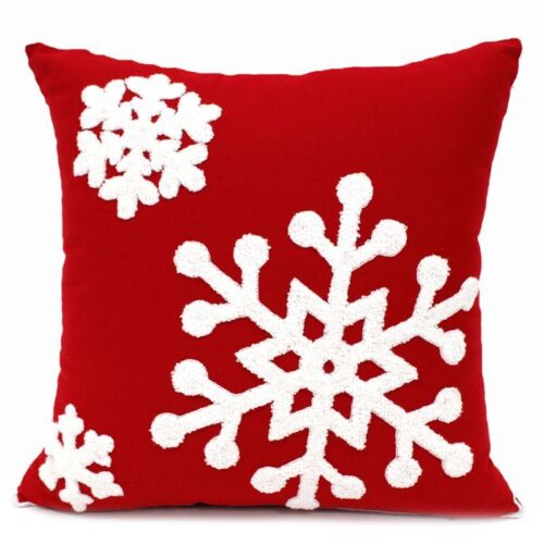 Christmas Patterns Pillow Case Cotton Embroidered Cushion Cover Festival Decor