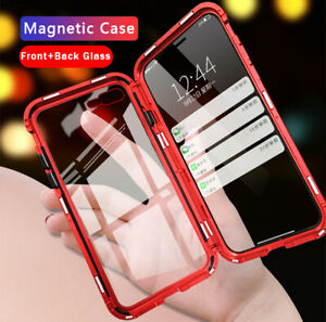For-iPhone-XR-XS-Max-6-7-8-Plus-Magnetic-Adsorption-Double-Side-Glass-Case-Cover