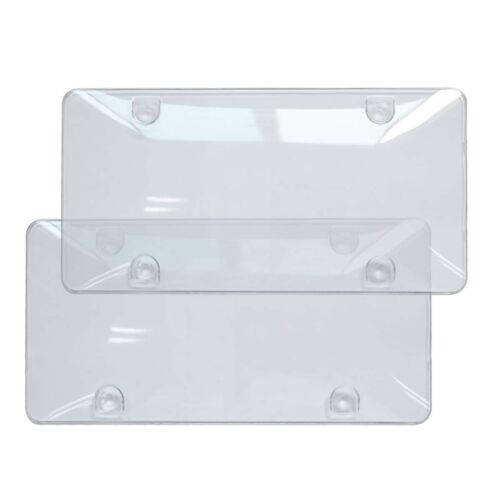 2x Clear License Plate Tag Frame Covers Bubble Shields Protector Car Truck RV