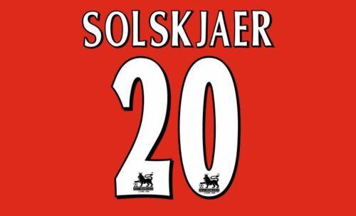 Solskjaer #20 Manchester United 1998-2000 Home EPL Football Nameset 4 shirt