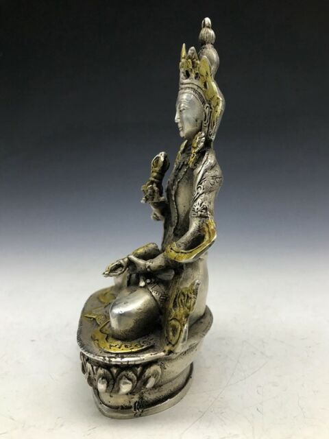 Chinese Tibetan silver handwork Buddha Statue Vajrasattva Mantra