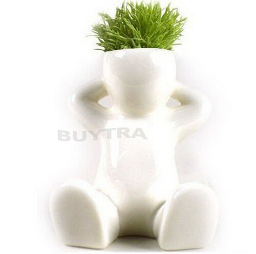 Novel Bonsai Head Grass Doll Hair White Lazy Man Rely Plant Garden Diy MiniPTH