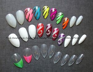 Short-Med-Plain-Full-Cover-Stiletto-Nails-to-paint-white-clear-opaq-034-PINK-CANDY-034