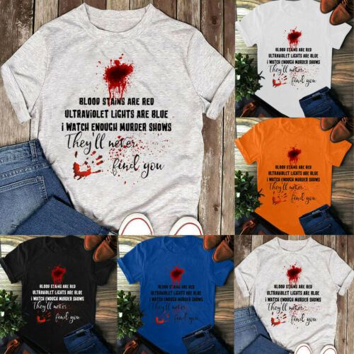 Plus Size Halloween T-Shirt Short Sleeve Tops Unisex BLOOD STAINS ARE RED Shirts
