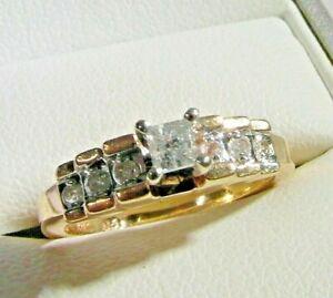 41M Ladies 9ct gold over 1/4 carat diamond ring size L 1/2
