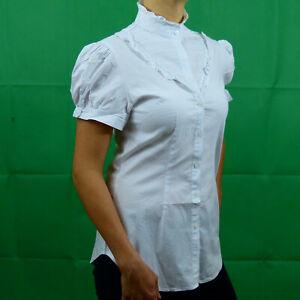 White-Formal-Cotton-Victorian-Steampunk-Short-Sleeve-Shirt-Blouse-8-10-12-14-16