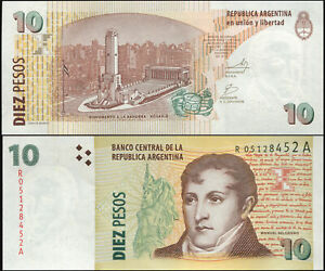 Argentinien 10 Pesos. UNZ Replacement ND (2003) Banknote Kat# P.354r