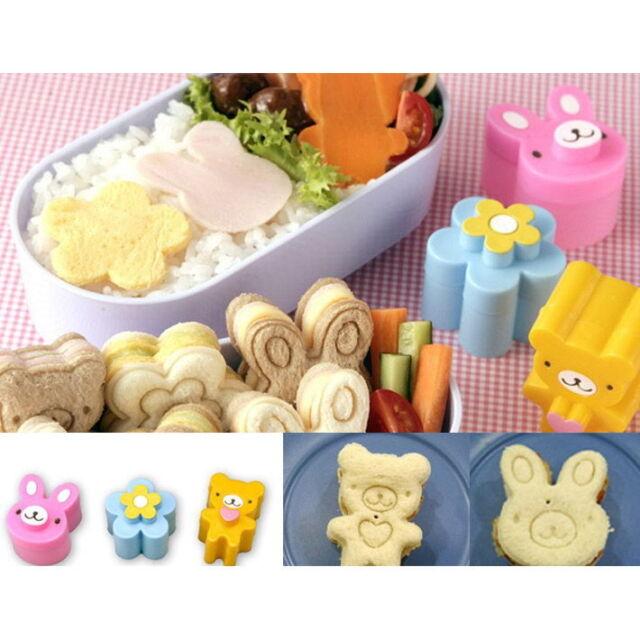 3 PCS Sandwich Crust Cutter Cookie Bread Mold Bento Maker Rabbit Panda Flower
