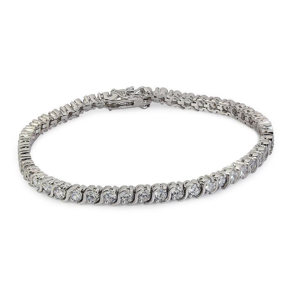 Round Diamond S Link Tennis Bracelet 1.00ct TDW 14k White gold Over