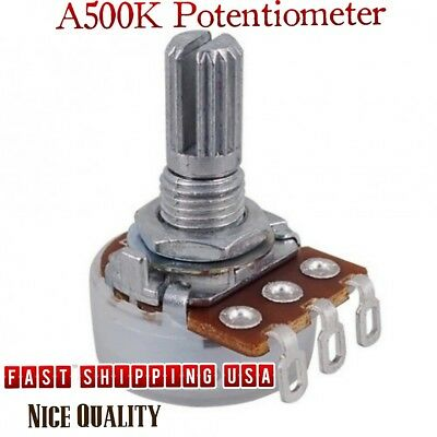 SUPVOX 10pcs A50k Full Size Bass Pots Potentiometer Long Knurled Split Shaft Audio Taper Low Friction for Guitar Bass