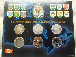 Canada-Commemorate-6-silver-Dollars-Set-1973-1974-1975-1976-1977-and-1978