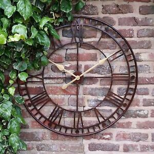 LARGE-GARDEN-METAL-80CM-WALL-STATION-CLOCK-ROMAN-NUMERALS-OPEN-FACE-OUTDOORS