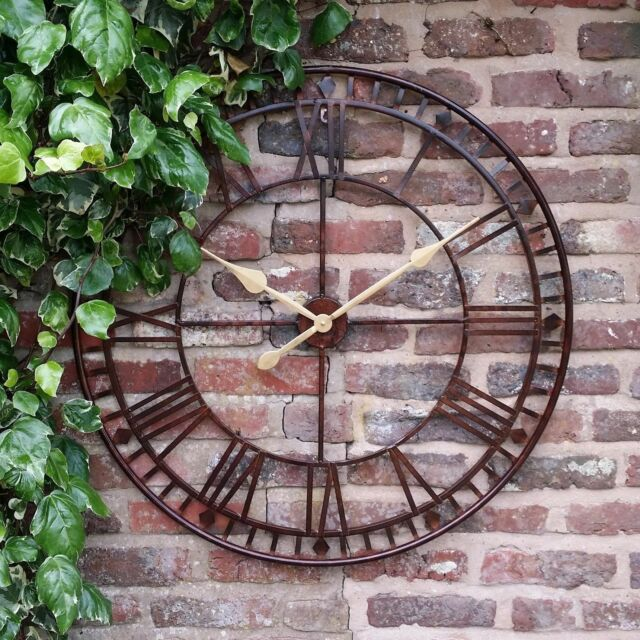 LARGE GARDEN METAL 80CM WALL STATION CLOCK ROMAN NUMERALS OPEN FACE OUTDOORS
