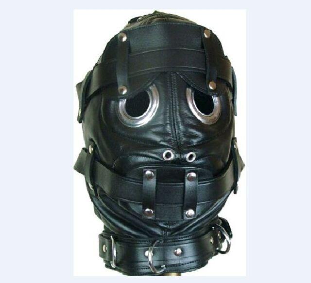Black Faux Leather Full Hood Mask Padded Blindfold Mouth Gag Restraints Kits