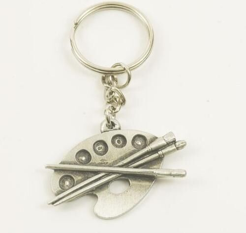 English Pewter Artists Palette Keyring  NEW