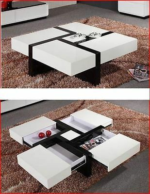 New White Hi High Gloss Modern Coffee Table With 4 Extra Storage