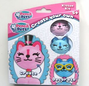pencil pets create your own pencil toppers pink blue kitten