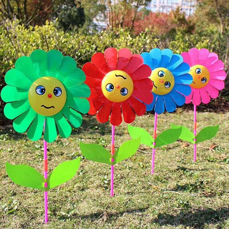 Sunflower windmill garden yard party outdoor wind spinner ornament kids toys Te