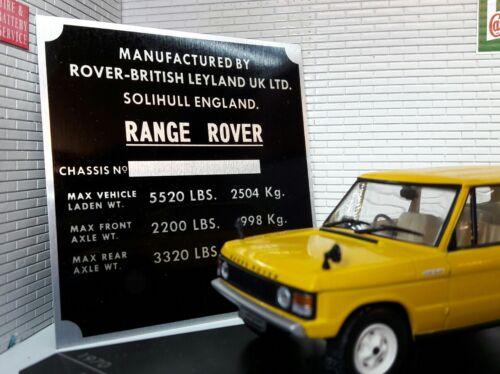 LAND Range Rover Classic 2 PORTE telaio in lega TARGA PLACCA VANO MOTORE