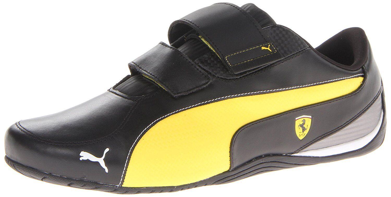 PUMA Men's Drift Cat 5 Ferrari AC NM Motorsport shoes,Black Vibrant Yellow