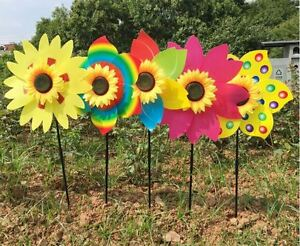 Lot-of-6X-New-Sunflower-Windmill-Wind-Spinner-Decoration-Home-Yard-Garden-Decor