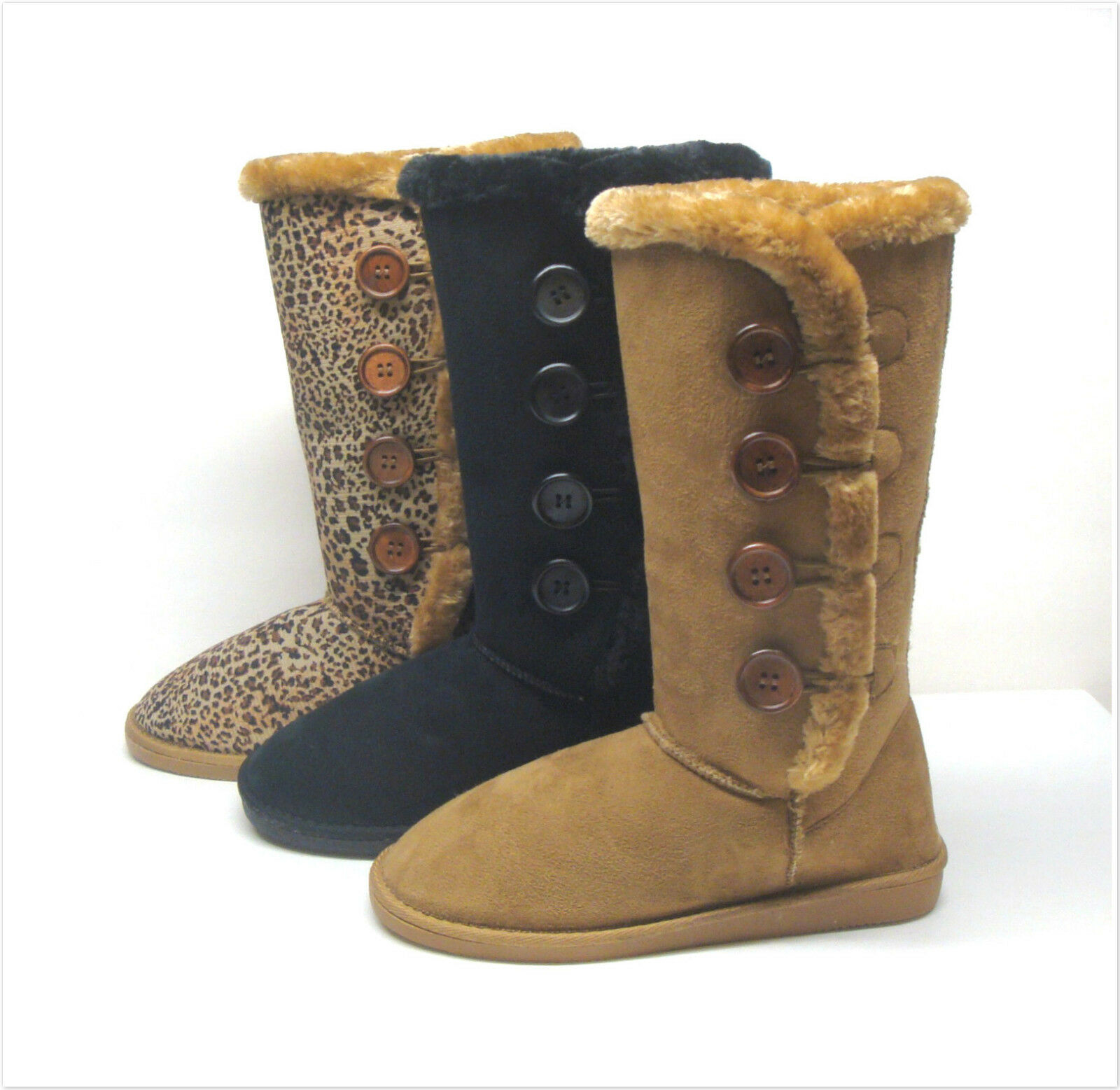 Brand New Women's Mid-Calf Winter Snow Four Buttons Boots Size 5.5 - 10