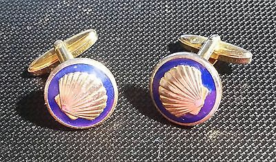 Original 30er Year Practical Shell Cufflinks Enamelled And Gilded Old 02 Sufficient Supply