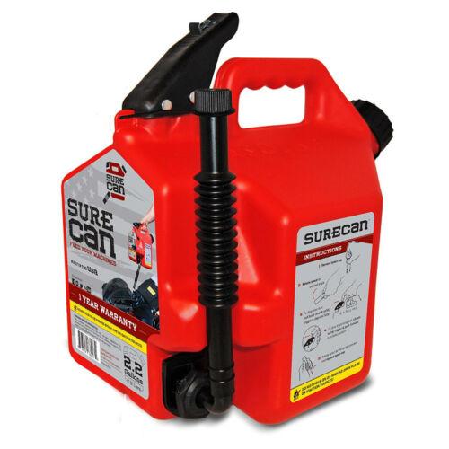 2.2 Gallon SureCan SUR22G1 Gasoline Can with Flexible Rotating Nozzle