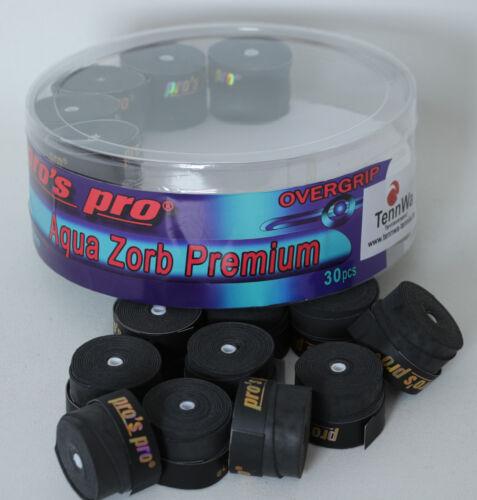 10er Pack AQUA ZORB Premium OVERGRIP schwarz Ultimative Schweißaufnahme
