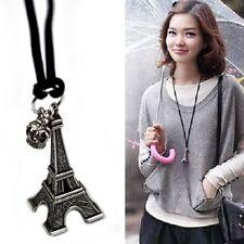 Eiffelturm Anhänger Kette Halskette silber-farbig Eifelturm Krone Band schwarz