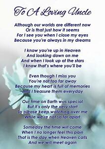 To A Loving Uncle Memorial Funeral Graveside Poem Card ...