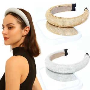 Gold-Full-Crystal-Rhinestone-Headband-Women-Luxury-Crown-Wide-Hairband-Party-New