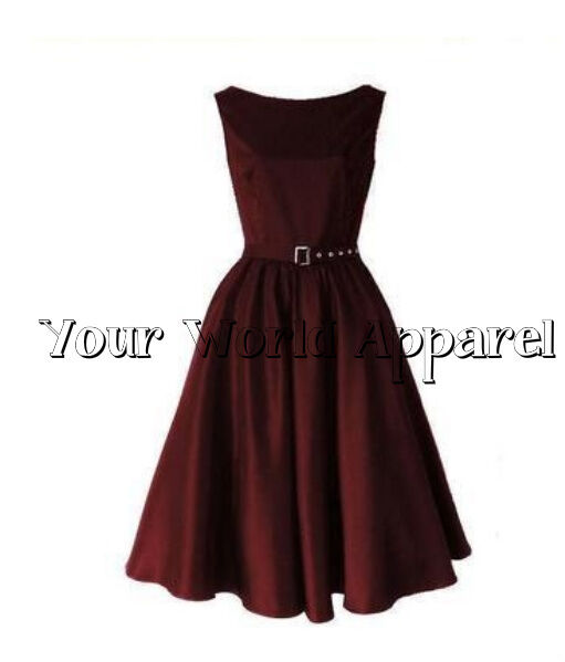 Hepburn Style Burgundy Rockabilly Swing Evening Pinup Prom Retro Satin Dress 50s