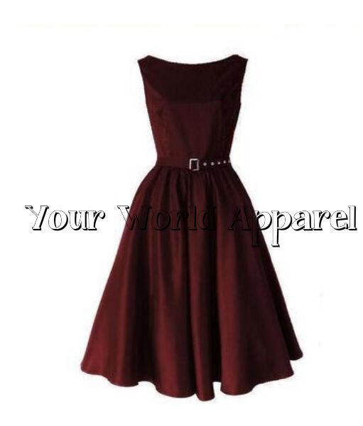 Hepburn Style Burgundy Rockabilly Swing Evening Pinup Prom Retro Satin Dress 50s