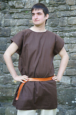 ROMAN-Dark Age-Saxon-Re enactment-VIKING-LARP- Dark Brown SLEEVELESS BasicTunic