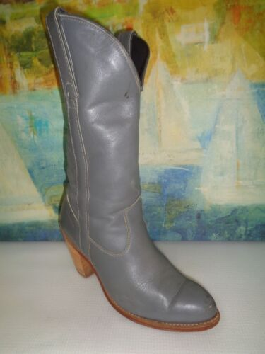 CAPEZIO VITELLO Size 6M Gray Leather Western Boots